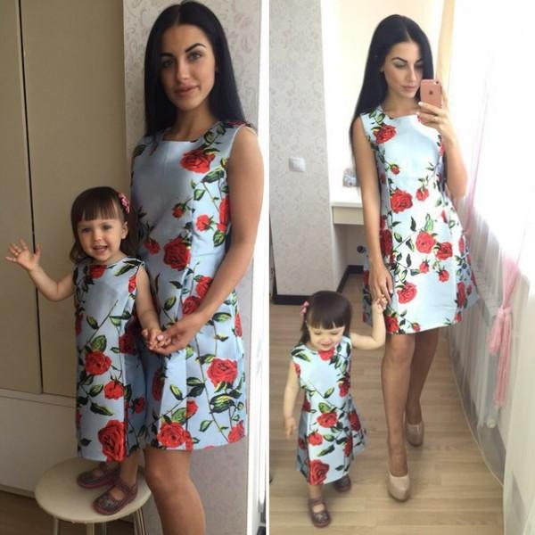 Платье для мамы и дочки из жаккарда с цветочным принтом (2 расцветки ) - IBERIS в Харькове