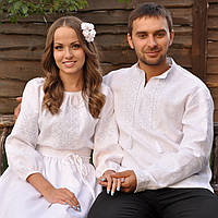Вышиванка мужская и женское белое вышитое платье, фото 1