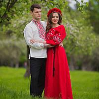 Вышиванка мужская и женское красное платье с вышивкой