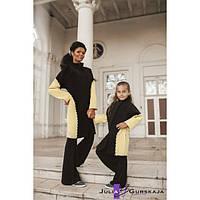 """Кашемировое двухцветное пальто для мамы и дочки фасона """"Летучая мышь"""""""