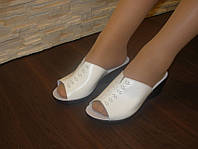 Б754 - Шлепанцы женские белые натуральная кожа
