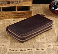 Мужской кожаный клатч-портмоне на две молнии в винтажном стиле коричневый 00304