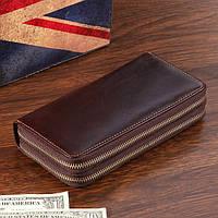 Солидный мужской кожаный клатч-портмоне на две молнии в винтажном стиле коричневый 00305