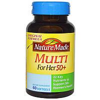 Nature Made, Мультивитамины для женщин за 50, 60 гелевых капсул, купить, цена, отзывы