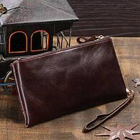 Стильный мужской кожаный клатч-портмоне на две молнии в винтажном стиле коричневый 00307
