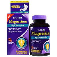 Natrol, Магний с высокой степенью поглощения, натуральный вкус клюквы и яблока, 60 жевательных таблеток, купить, цена, отзывы