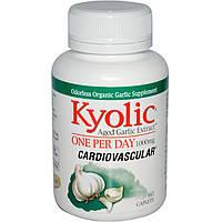 Wakunaga - Kyolic, Экстракт чеснока, 1 таблетка в день, поддержание сердечно-сосудистой системы, 1000 мг, 60 капсуловидных таблеток