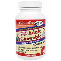 Michael's Naturopathic, Жевательный мультивитаминный комплекс для взрослых, для ежедневного приема, с апельсиново-сливочным вкусом, 60 вегетарианских,