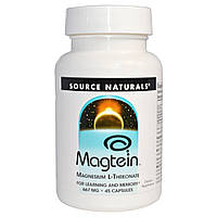 Source Naturals, Магтеин, магния L-треонат, 667 мг, 45 капсул, купить, цена, отзывы