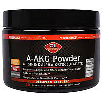 Olympian Labs Inc., Порошок A-AKG, аргинин альфа-кетоглютарат, перед тренировкой, без ароматизаторов, 90 г, купить, цена, отзывы