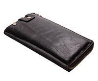Мужской кожаный клатч-портмоне в винтажном стиле шоколадного цвета 00310