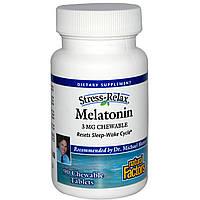Natural Factors, Стресс-релакс, мелатонин, 3 мг, 90 жевательных таблеток, купить, цена, отзывы