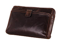 Мужская кожаная барсетка-клатч из винтажной кожи коричневого цвета 00311