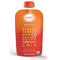 SHINE Organics, Elevate, органические банан, морковь, манго, пшеница, куркума, чиа, 4 упаковки, по 4,22 унции (120 г) в каждой, купить, цена, отзывы