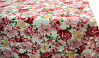 Ткань для скатерти рогожка Цветы розовый