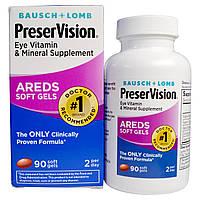 Bausch & Lomb PreserVision, AREDS, витаминная и минеральная добавка для глаз, 90 мягких желатиновых капсул, купить, цена, отзывы