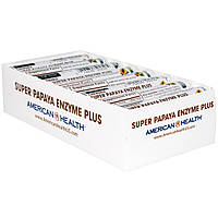 """American Health, """"Супер"""", фермент папайи плюс, жевательные таблетки, 16 ролов, по 12 таблеток каждый, купить, цена, отзывы"""