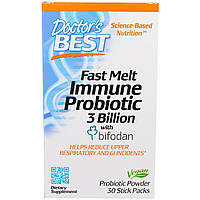 Doctor's Best, Fast Melt, Immune Probiotic with Bifodan, 30 Stick Packets, купить, цена, отзывы