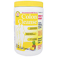 """Health Plus Inc., """"Чистка кишечника"""", средство для чистки толстого кишечника, подслащенное стевией, с освежающим ананасовым вкусом, 9 унций (255 г),"""
