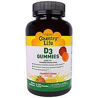 """Country Life, """"Мармеладки с D3"""", жевательные пастилки с витамином D3 с клубничным и апельсиновым вкусом, 1000 МЕ, 120 пастилок, купить, цена, отзывы"""