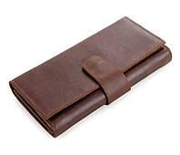 Оригинальный мужской кожаный клатч-портмоне в винтажном стиле коричневый 00315