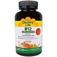 """Country Life, """"Мармеладки с B12"""", жевательные пастилки с витамином B12, с клубничным вкусом, 850 мкг, 120 пастилок, купить, цена, отзывы"""