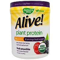 """Nature's Way, """"Бодрый!"""", органический растительный белок, фруктовый смузи с ягодным вкусом, 15,5 унции (440 г), купить, цена, отзывы"""
