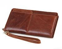 Эксклюзивный мужской кожаный клатч коричневый 00318