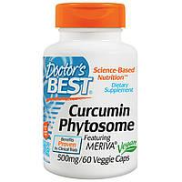 Doctor's Best, Фитосомный кукрумин, Featuring Meriva, 500 мг, 60 вегетарианских капсул, купить, цена, отзывы