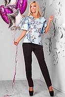 Костюм женский блуза+брюки голубой