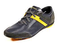 Мужские синие натуральные кожаные cпортивные туфли летние шнурок GS-комфорт, фото 1