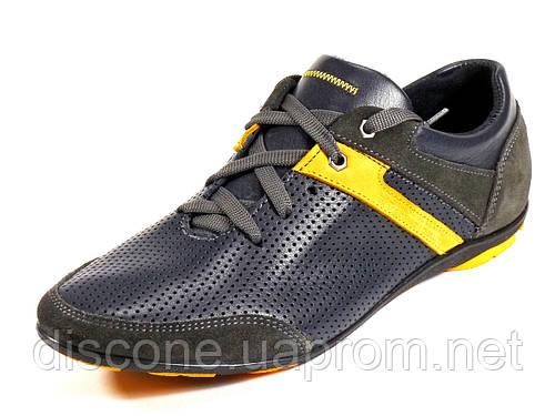 Мужские синие натуральные кожаные cпортивные туфли летние шнурок GS-комфорт