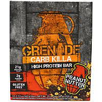 Grenade, Батончики Carb Killa, арахисовая паста, 12 батончиков, 2,12 унции (60 g) каждый, купить, цена, отзывы