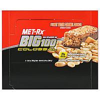 MET-Rx, Big 100, Батончик Вместо Еды, Хрустящая Карамель с Арахисовым Маслом, 9 батончиков, по 3,52 унции (100 г) каждый, купить, цена, отзывы