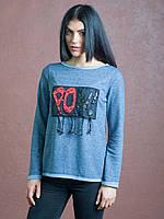 Модная женская кофточка Тэрри синего цвета