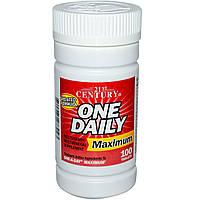 21st Century, One Daily, Комплекс мультивитаминов и минералов максимального действия, 100 таблеток, купить, цена, отзывы