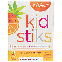 American Health, Эстер-C Кидстикс Растворимый напиток на каждый день, Со вкусом тропических фруктов, 30 пакетов с порошком, 9.2 г (0.32 унции) каждый,