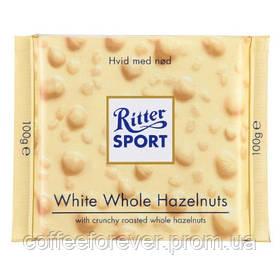 Шоколад белый Ritter Sport White Whole Hazelnuts (Риттер Спорт с фундуком), 100 г