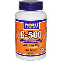 Now Foods, C-500 с шиповником, 250 таблеток, купить, цена, отзывы