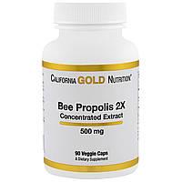 California Gold Nutrition, пчелиный прополис 2X, 500 мг, 90 овощных капсул, купить, цена, отзывы