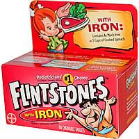 Flintstones, Детские мультивитамины с железом, фруктовый вкус 60 жевательных таблеток, купить, цена, отзывы
