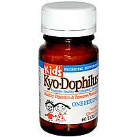 Wakunaga - Kyolic, Детский Kyo-дофилус, жевательные таблетки с ванилью, 60 таблеток, купить, цена, отзывы