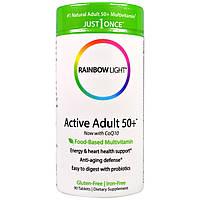 Rainbow Light, Just Once, Активные взрослые от 50 лет, мультвитамин на осное пищи, 90 таблеток, купить, цена, отзывы