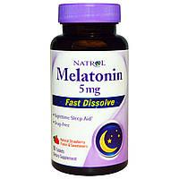 Natrol, Мелатонин, быстрорастворимый, клубника, 5 мг, 90 таблеток, купить, цена, отзывы