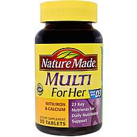 Nature Made, Multi for Her с железом и кальцием, 90 таблеток, купить, цена, отзывы