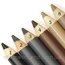 Олівець для брів водостійкий зі щіточкою M-400/02 мокрий асфальт (frost black) Malva cosmetics, фото 3
