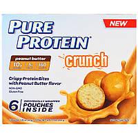 Pure Protein, Crunch, кусочки арахисового масла, 6 индивидуально упакованных пакетиков, каждый 1.20 унц. (34 г.), купить, цена, отзывы