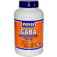 Now Foods, GABA, Естественный успокаивающий эффект, 200 капсул, купить, цена, отзывы