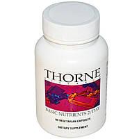 Thorne Research, Basic Nutrients 2/Day, 60 растительных капсул, купить, цена, отзывы
