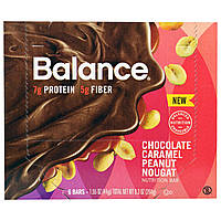 Balance Bar, Батончик Здорового Питания, Нуга из Шоколада, Карамели и Арахиса, 6 батончиков, 1,55 унции (44 г) каждый, купить, цена, отзывы